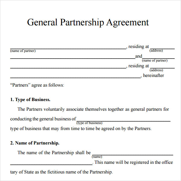 simple partnership agreement template free business partnership