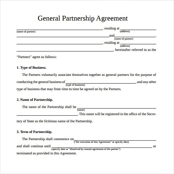 simple partnership agreement template free simple business