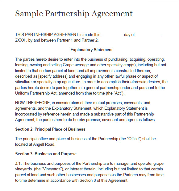 simple partnership agreement template simple business partnership