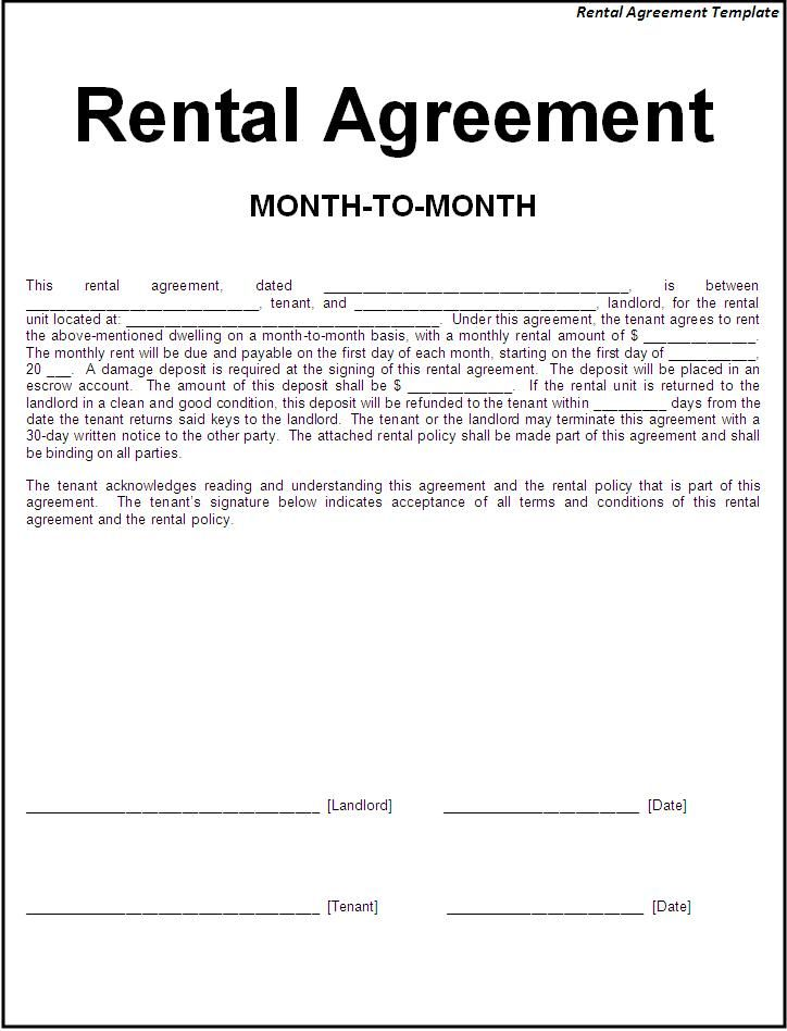 Printable Sample Simple Room Rental Agreement Form | Real Estate