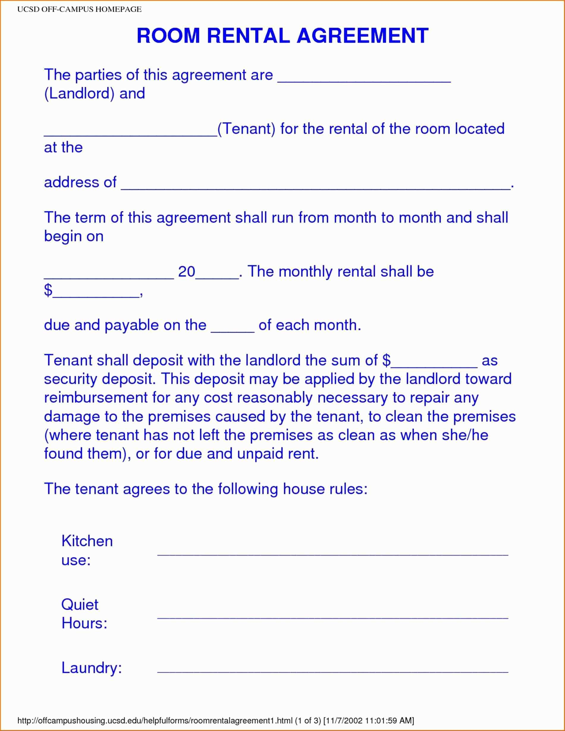 12 Best Of Simple Room Rental Agreement form Free | worddocx