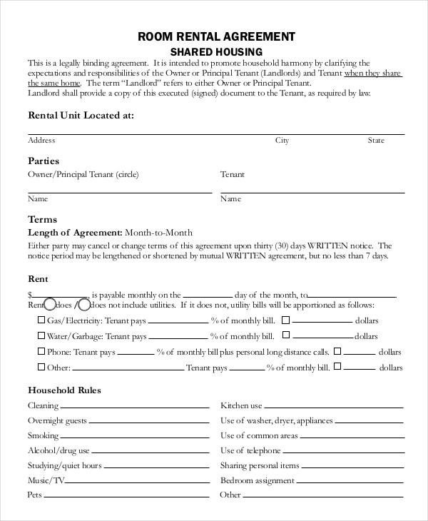 simple room rental agreement template room rental agreement 17