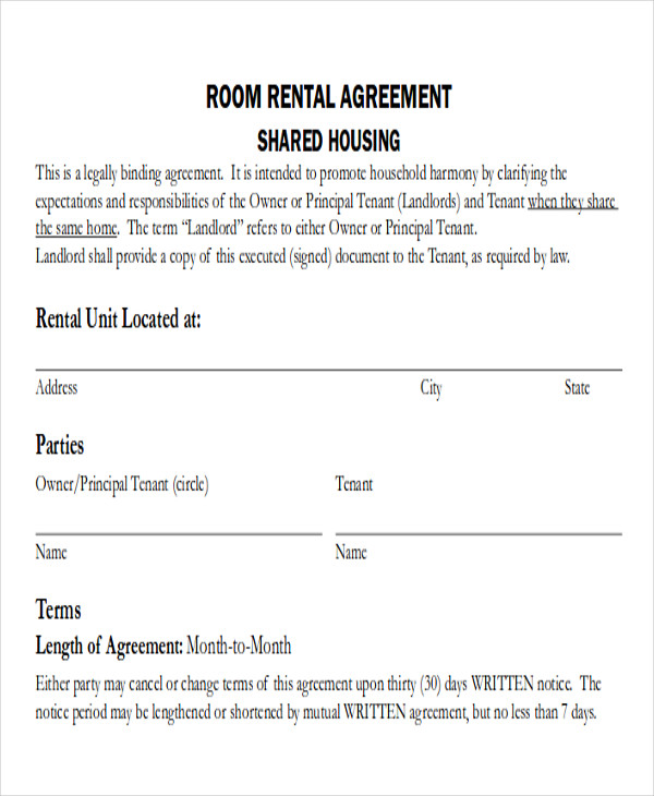simple room rental agreement template sample room rental agreement