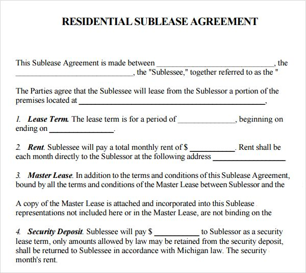 Printable Sample Sublease Agreement Template Form | Real Estate
