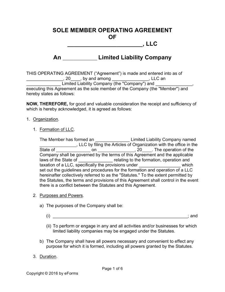 Free Single Member LLC Operating Agreement Templates PDF | Word