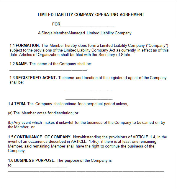 operating agreement llc template free operating agreement 8 free