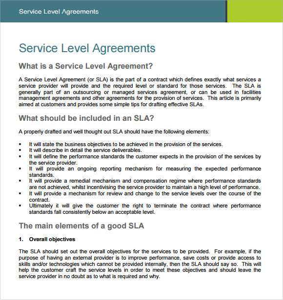contract service level agreement template sample service level
