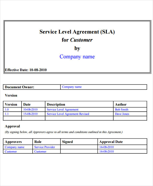 what is a service level agreement template 14 service level