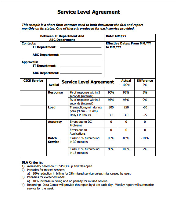 what is a service level agreement template template of service