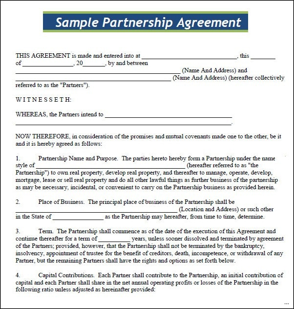 small business partnership agreement template sample partnership