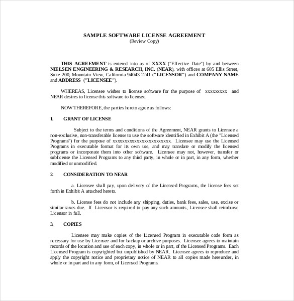 software site license agreement template software license