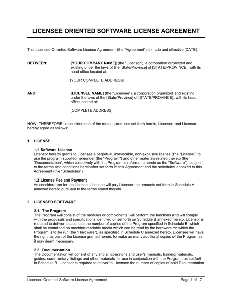 software trial agreement template licensee oriented software