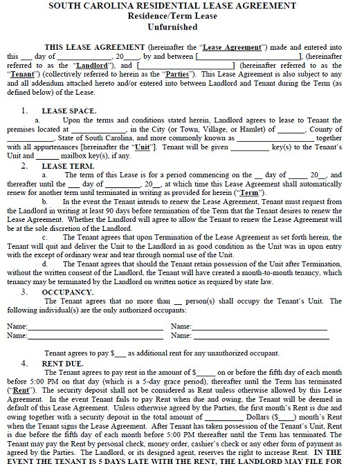 sc rental lease agreement templates south carolina residential