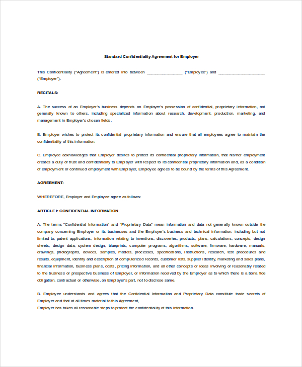 Standard Confidentiality Agreement – 6+ Free Word, PDF Documents