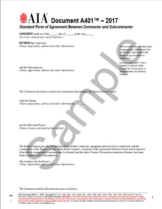 A401–2017, Standard Form of Agreement Between Contractor and