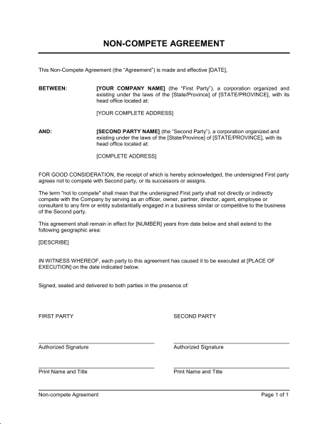 contractor non compete agreement template general non compete
