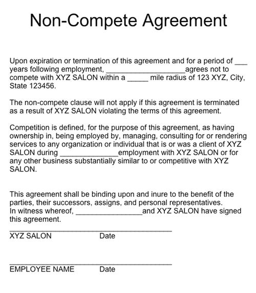 employee non compete agreement template free non competition