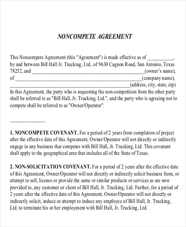 9+ Sample Word Non Compete Agreements | Sample Templates