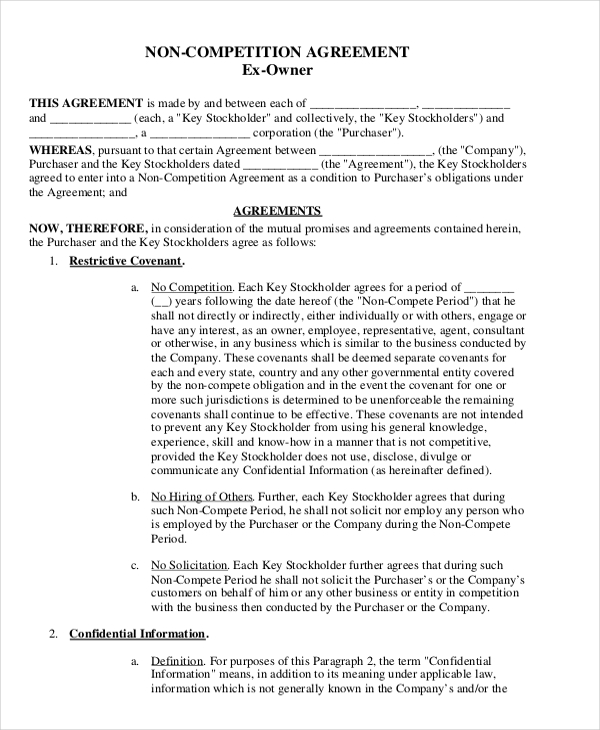 11+ Standard Non Compete Agreement Templates Free Sample