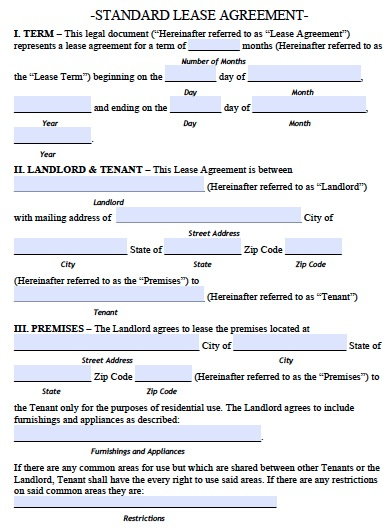 standard tenancy agreement template standard lease agreement