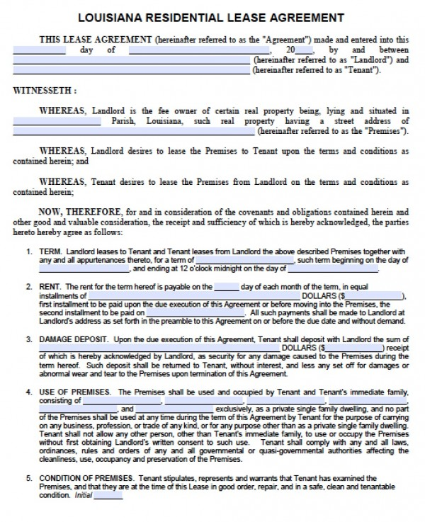 Free Louisiana 1 Year Residential Lease Agreement | Standard