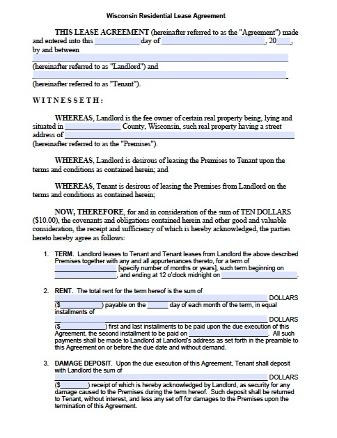 standard lease agreement template free wisconsin standard