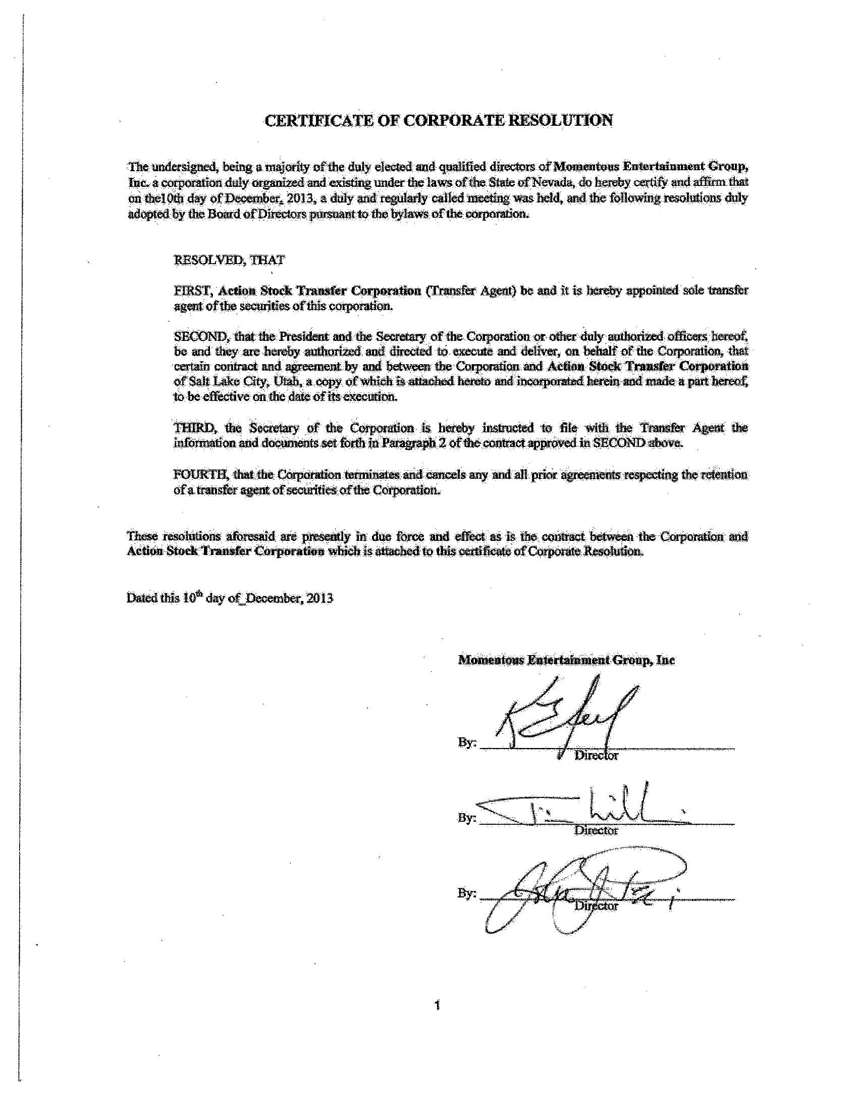 Exhibit 99.2 Agreement with Action Stock Transfer