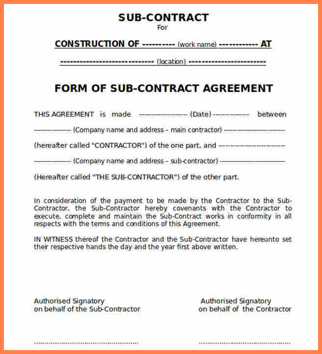 subcontractor agreement construction template 9 construction