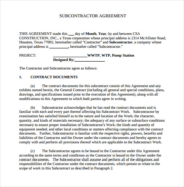 subcontractor agreement construction template sample subcontractor
