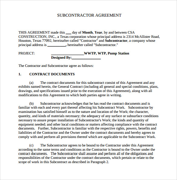 subcontractor agreement template construction construction