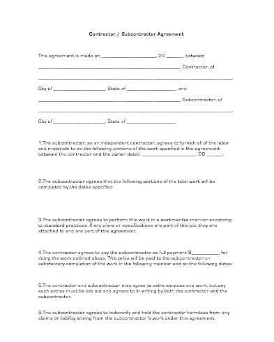 contractor subcontractor agreement template contractor