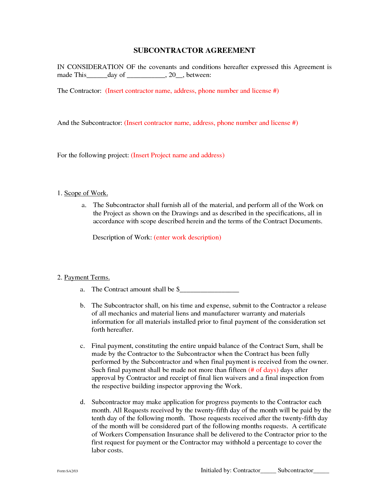 Subcontractor Agreement Template Free. free subcontractor