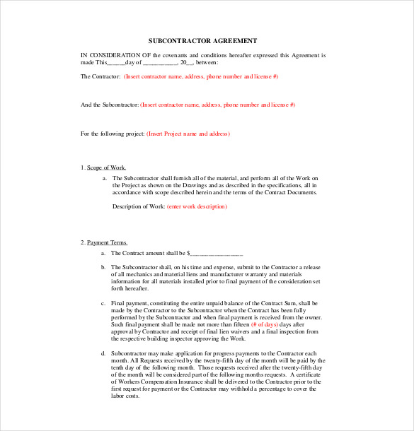 aia subcontractor agreement template subcontractor agreement