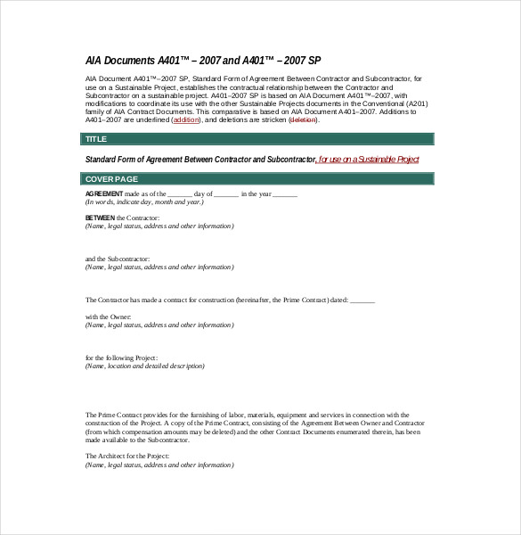 Subcontractor Agreement template – 16+ Free Word, PDF Document