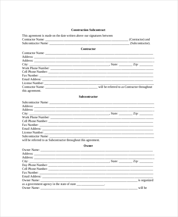 government subcontractor agreement template sample construction