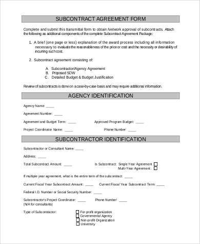 Sample Subcontractor Agreement Forms 8+ Free Documents in Word, PDF