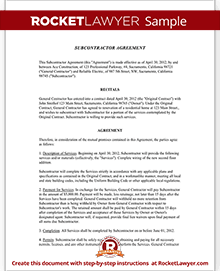 Subcontractor Agreement Contract Form | Rocket Lawyer