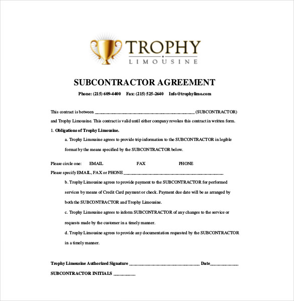 simple subcontractor agreement template 10 subcontractor agreement