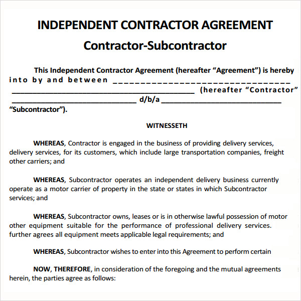 subcontract agreement template sample subcontractor agreement 10