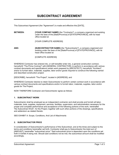 subcontractor proposal template subcontractor agreement template