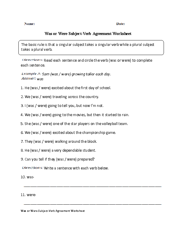 Subject Verb Agreement Worksheets With Answers The best worksheets