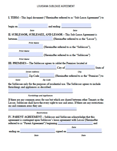 sublease agreement template free free louisiana sublease agreement