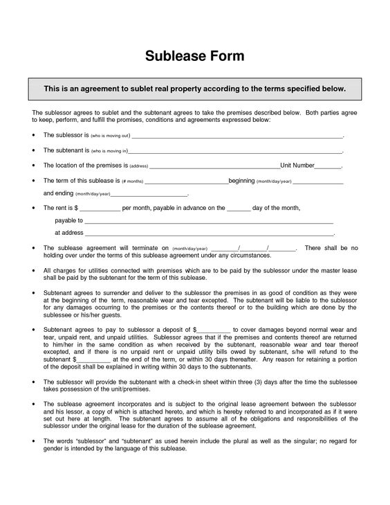 subletting agreement template sublease agreement template