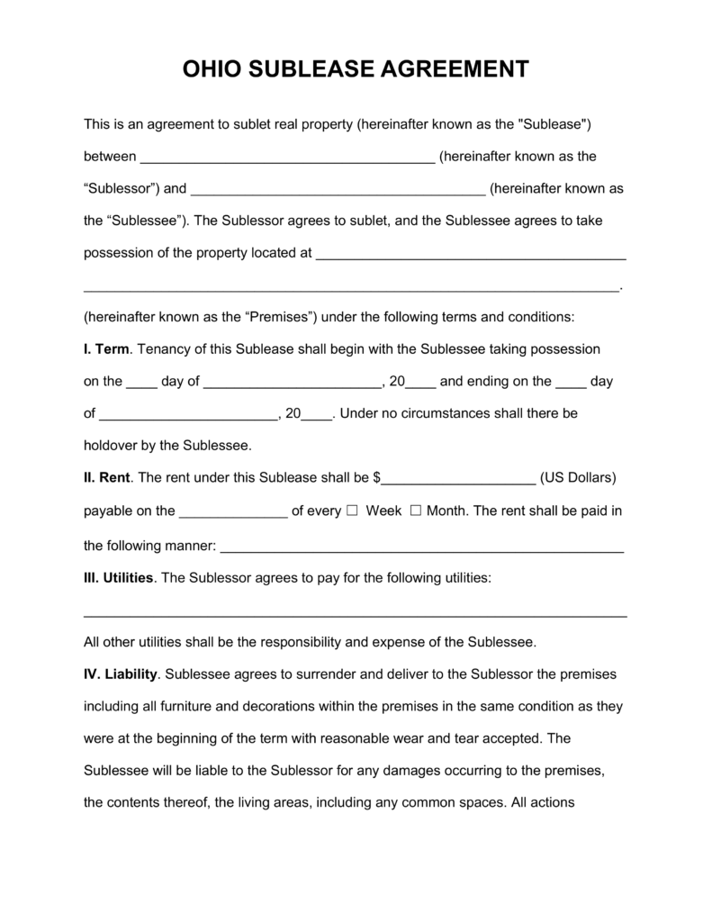 Free Ohio SubLease Agreement Template PDF   Word   eForms – Free