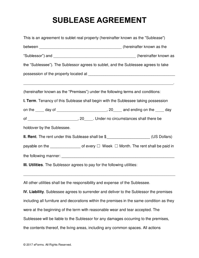 Free SubLease Rental Agreement Template PDF | Word | eForms