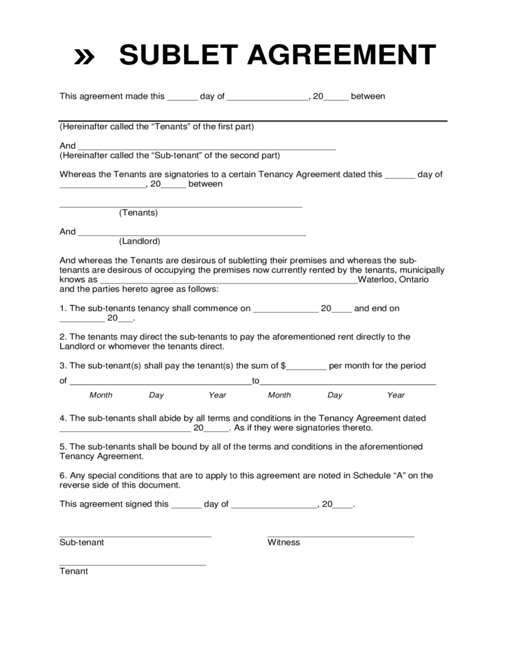 sublease rental agreement template subletting agreement template