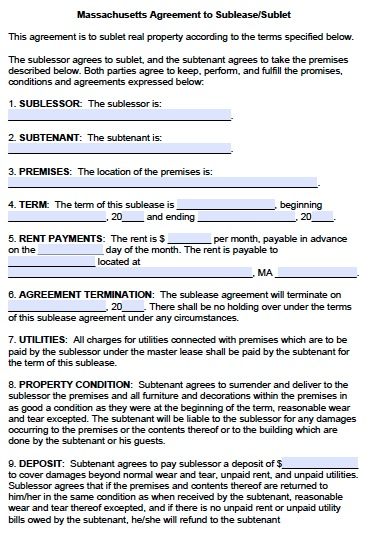 sublet agreement template free massachusetts sublease agreement