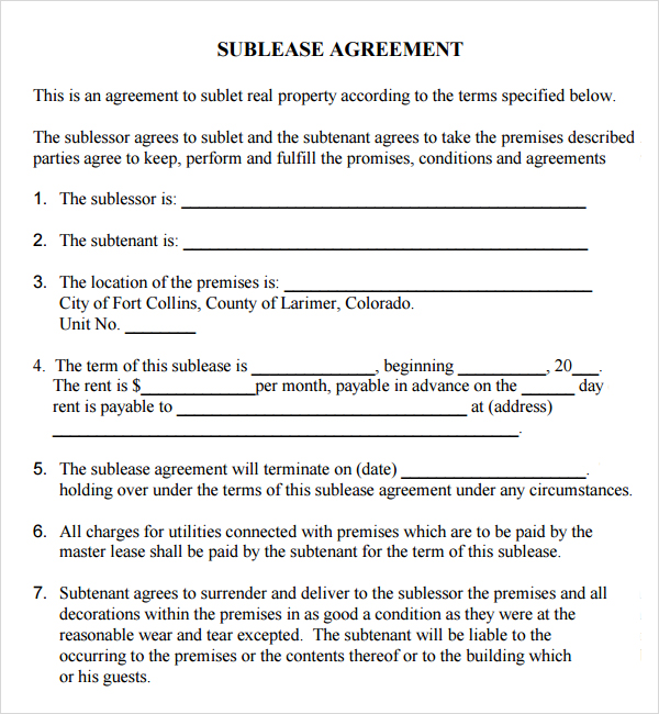 sublet agreement template sublease contract template