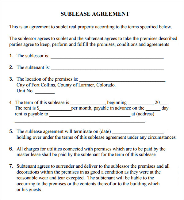 sample sublease agreement template sublet lease agreement template