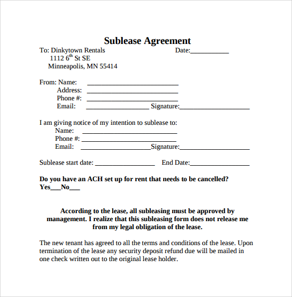 sample sublease agreement template sublet tenancy agreement